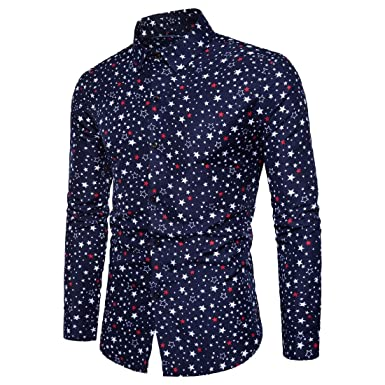 Casual Button-Down Shirts Clothing SportsX Mens Buttoned Long-Sleeve Flat Collar Digital Print Slim Fit Shirt