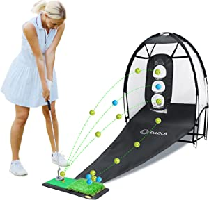 ELLOLLA Golf Practice Hitting Net with Turf Mat Golf Balls Target Chipping Holes, Ball Swing Training, Cutting Golf Practice Great Gifts for Dad Mom Husband Women Kid Golfers Indoors Outdoors