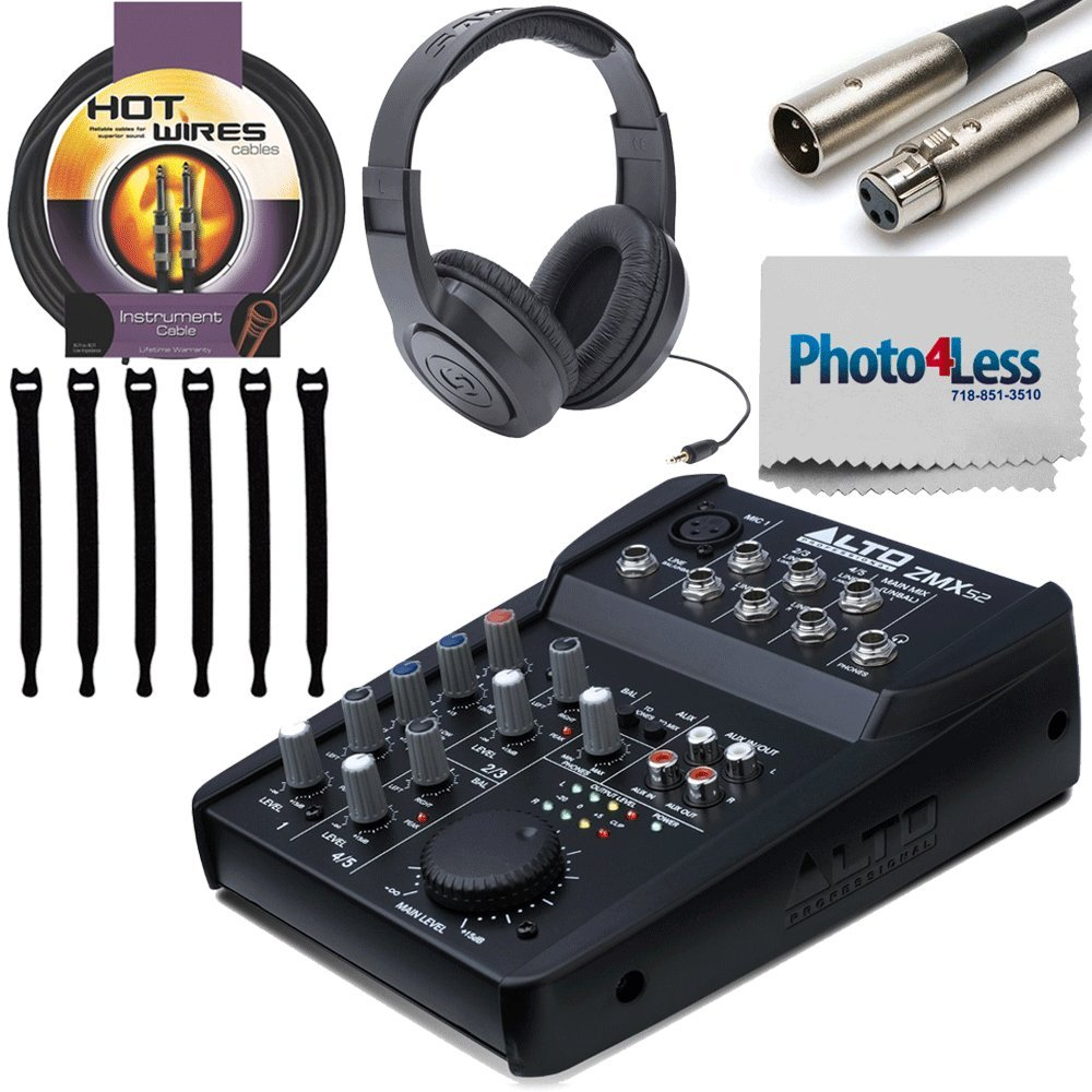 Alto Professional ZMX52 | 5-Channel 2-Bus Mixer with 6 Inputs, 3-Band EQ per Channel & +18V Phantom Power + Stereo Headphones + XLR3F to XLR3M 5' Cable + 10 Foot Cable + Strapeez + Cleaning Cloth!