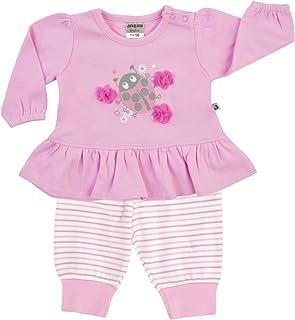 Jacky Kids Little Bug Set Strisce Camicia/Pantaloni da Jogging, Colore: Rosa, Taglia 50–86