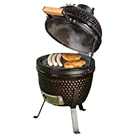 Kamado Grill Keramik XXL schwarz Keramikgrill Garten ✔ Deckel ✔ oval ✔ stehend grillen ✔ Grillen mit Holzkohle