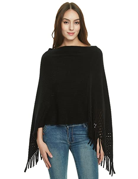 1c541faa66127 Ferand Women's Crochet Knit Poncho Sweater Soft Cape Shawl with Fringes,  Black
