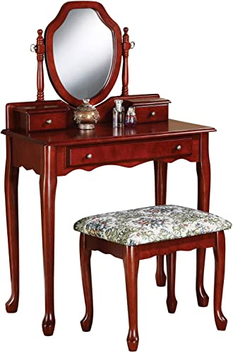 2-piece Vanity Set with Tapestry Fabric Seat Brown Red