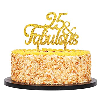 QIYNAO Gold Premium Quality Acrylic 25 Fabulous Cake Topper Happy 25th Birthday Anniversary Party Decoration