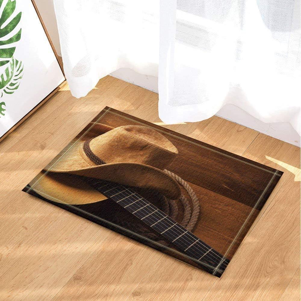 gwregdfbcv Sombrero de Vaquero Amarillo Hierba Cuerda Cuerda de Guitarra Negra sobre Fondo marrón Alfombra de baño Estera de la Puerta Antideslizante Entrada Interior niños 40X60CM