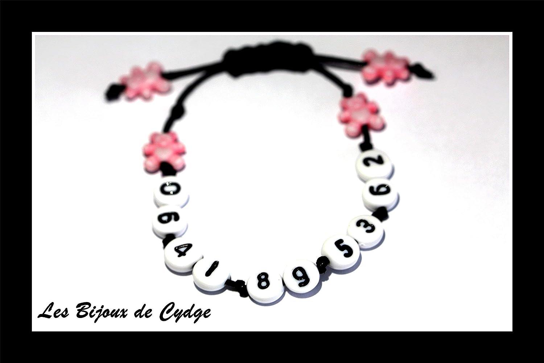 Bracelet de s/écurit/é avec num/éro de t/él/éphone et son ours rose