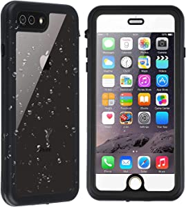 Co-Goldguard iPhone 7 Plus / 8 Plus Clear Waterproof Case Built in Screen Protector with Touch ID IP68 Certified Underwater Cover Dustproof Snowproof Shockproof SandProof Transparent & Black