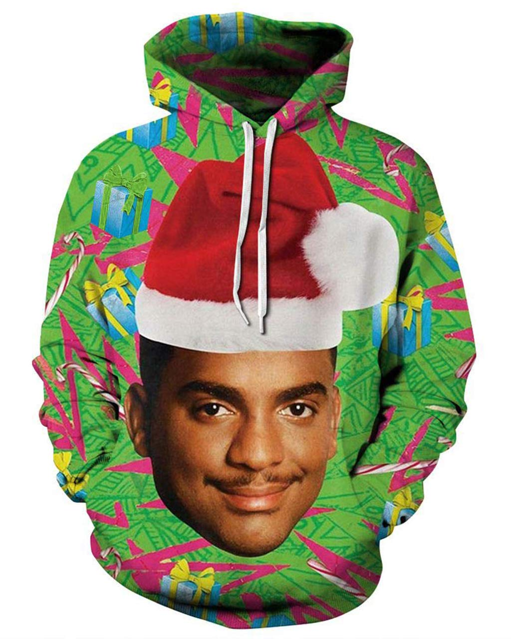 Pemela 90s Ugly Christmas Hoodies Hipster Funny Fresh Prince Sweatshirt Loose Casual Long Sleeve Pullover Sportswear for Xmas Party L  Price: $22.99