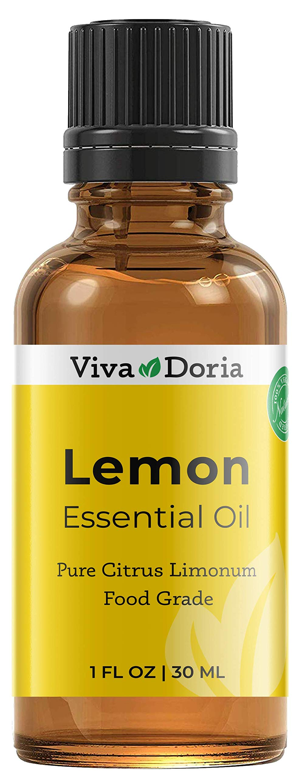 Viva Doria 100% Pure Lemon Essential Oil, Undiluted, Food Grade, High Quality Southwest - USA Lemon Oil, 30 mL (1 Fl Oz)