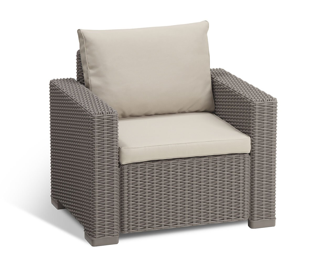 California Backyard Patio Furniture.Keter California All Weather Outdoor Patio Armchair With Cushions In A Resin Plastic Wicker Pattern Cappuccino Sand