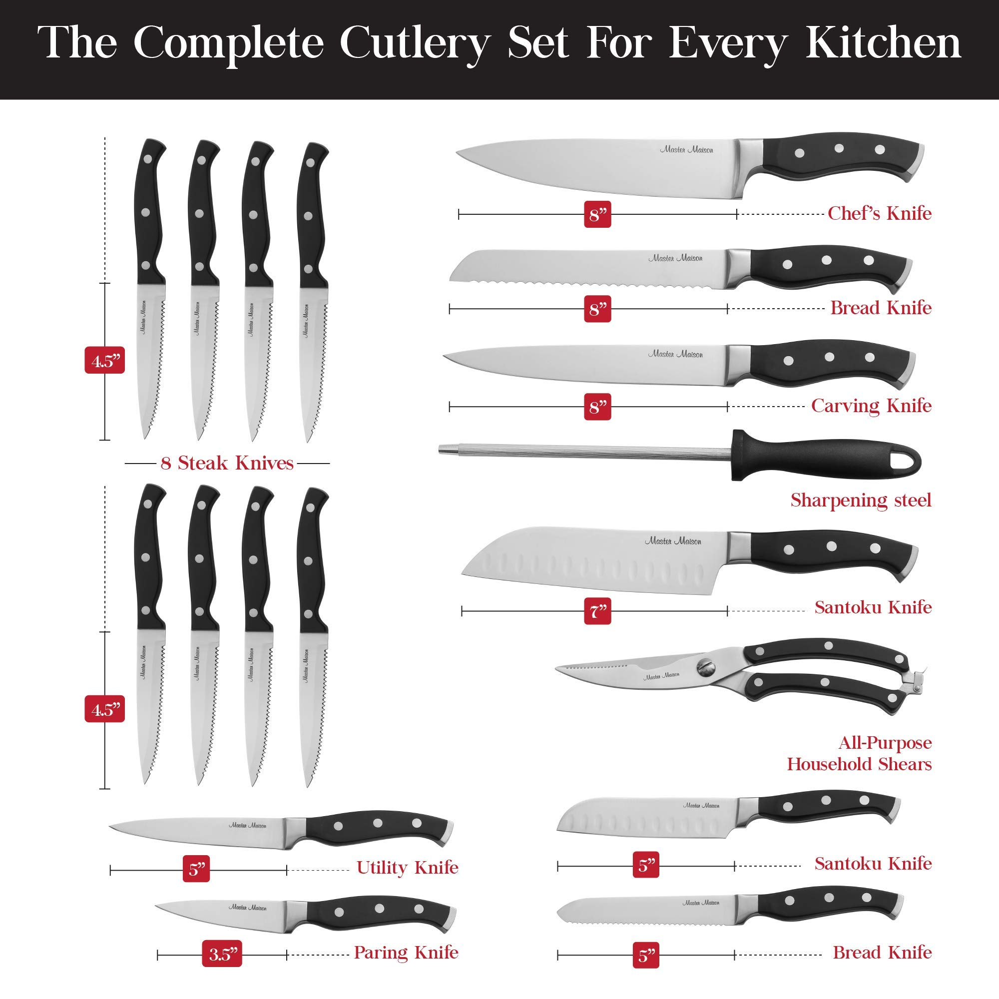19-Piece Premium Kitchen Knife Set With Wooden Block | Master Maison German Stainless Steel Cutlery With Knife Sharpener & 8 Steak Knives by Master Maison (Image #3)