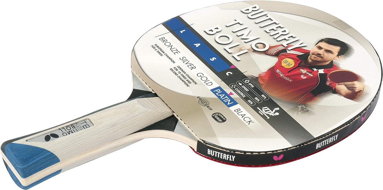 Butterfly Platinum - Raqueta de Tenis de Mesa, Color Negro y Rojo