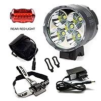 Eclairage Velo, 6000 Lumens 5x CREE XM-L T6 LED 3 Modes Bicyclette de Velo / Lampe Frontale Puissante / Devant la lumiere Avec 6 * 18650 Batterie (T5)