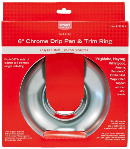 Frigidaire 5304458796 Pan and Ring Set. Chrome. 6-Inch