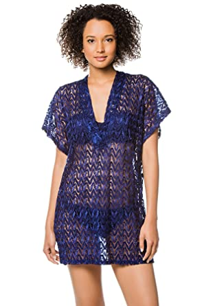 f8bf309415 Elif Women's Wovens Sheer Crochet V-Neck Tunic Swim Cover Up at Amazon  Women's Clothing store: