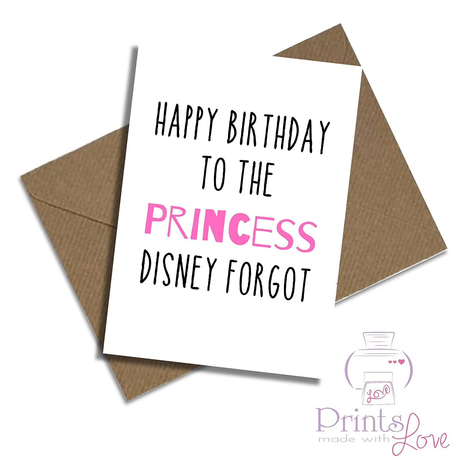 Happy birthday to the Princess Disney forgot A5 card Amazon
