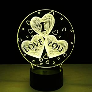 LEDMOMO 3D I Love You Heart Night Light 7 Color Changing Illusion Lamp with Touch and Remote Control for Home Bedroom Nurery Decor,Perfect for Kids Girls Lover Valentine