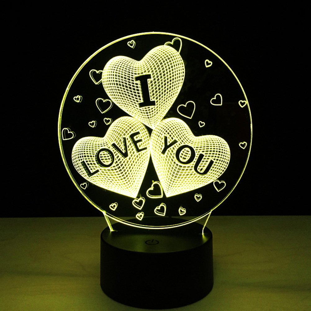 LEDMOMO 3D I LOVE You Heart Optical LED Illusion Lamp 7 Color Change Touch Switch Remote Control Colors Changes Night Light (I LOVE YOU Heart)