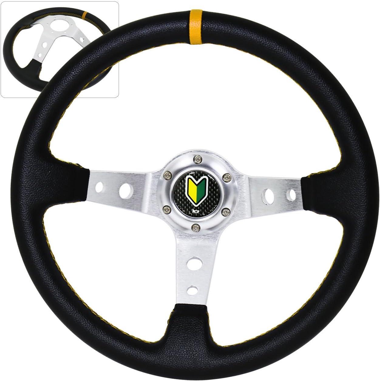 Universal 350MM 6 Bolt Hole Heavy Duty Deep Dish Light Weight Steering Wheel Green Trim Gold Center Streak Design Wakaba JDM Leaf Horn Button