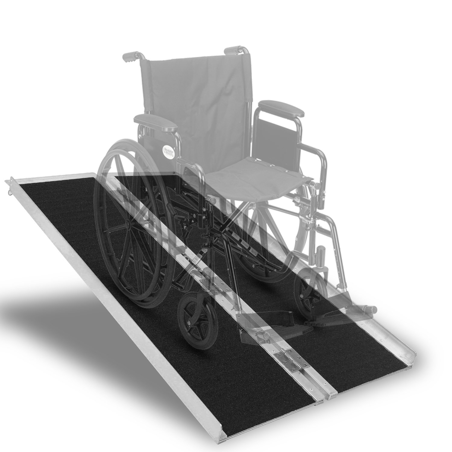 Aluminum Wheelchair Ramp Non-Skid Folding Mobility Scooter Portable Traction Ramp with Carrying Handle 4 Feet