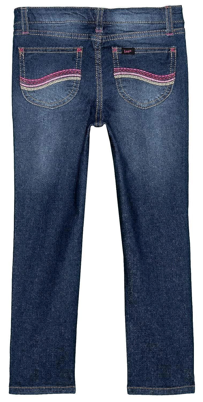 LEE Toddler Girls Sophia Skinny Denim Jeans with Adjustable Waist Blueberry Medium Wash, Size 5, 22W x 19L