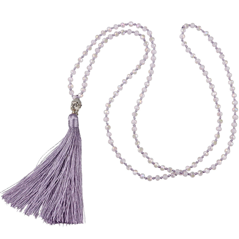 KELITCH Tassel Beads Necklace Buddha Strand Long Statement Jewelry for Women Kelitch Jewelry UAMN0208