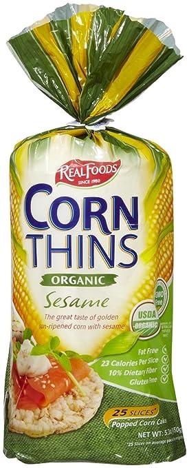Amazon Real Foods Organic Corn Thins Sesame Flavor Gluten