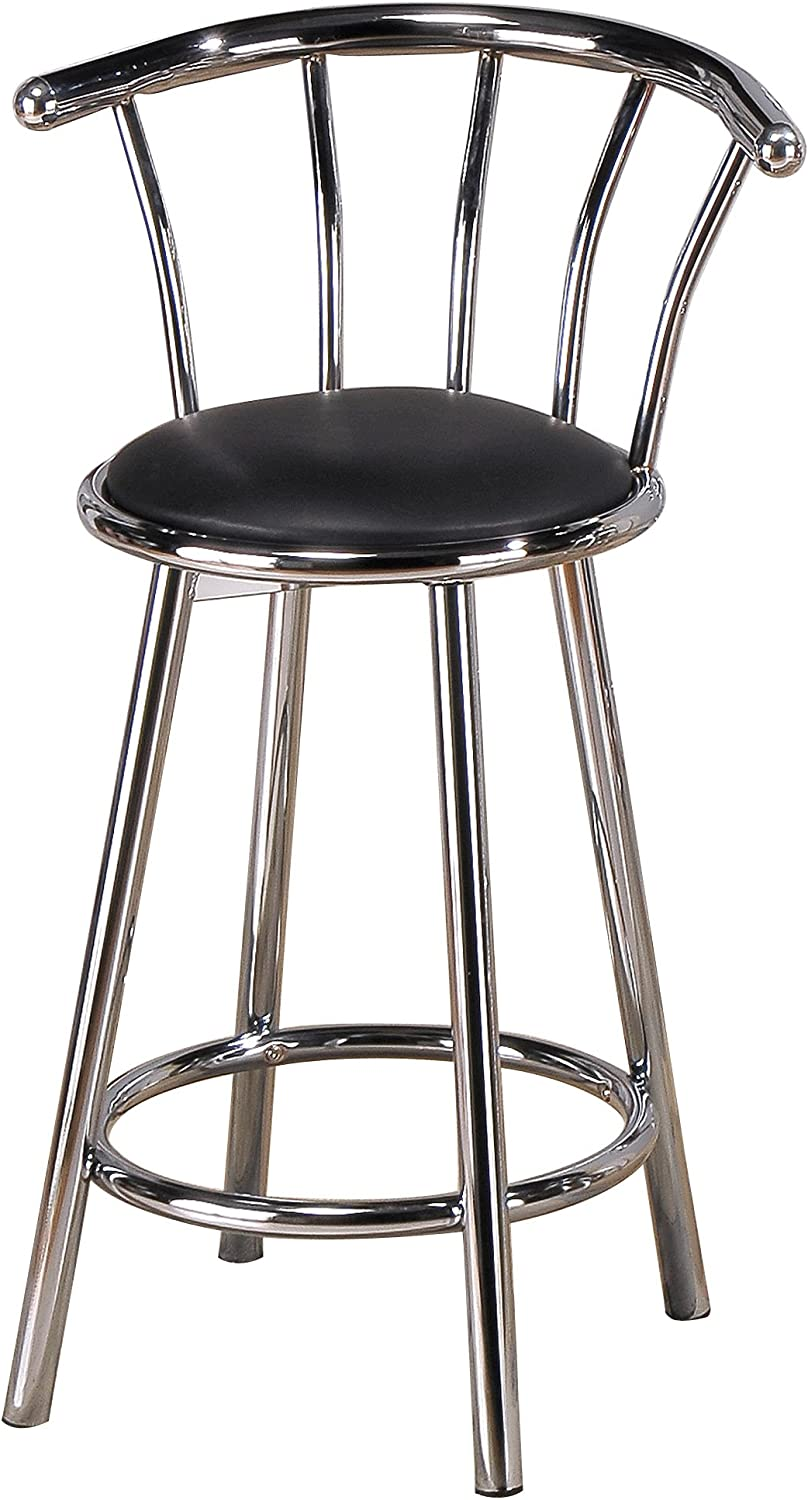 Amazon Com Poundex Swivel Bar Stools 29 Inch Height In Black Silver Color Set Of 2 Furniture Decor