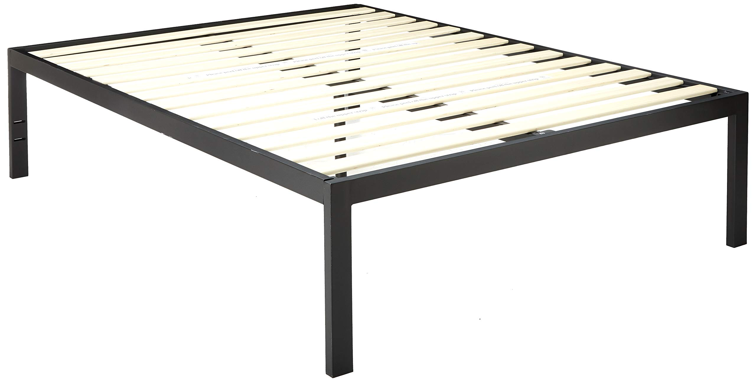 Zinus Lorrick Quick Snap TM 18 Inch Platform Bed Frame / Mattress Foundation / With Less than 3 Inch Spacing / Wooden Slat Support / No Bolts or Nuts / Easy Assembly, Queen