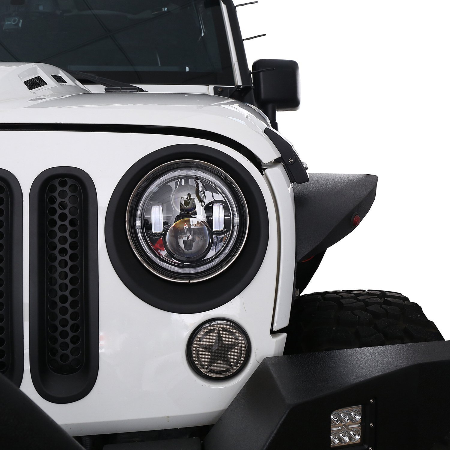 RilexAwhile Jeep Black JK Front Headlight Angry Bird Cover Click-in Bezels for 2007~2018 Jeep Wrangler /& Wrangler Unlimited JK Pair