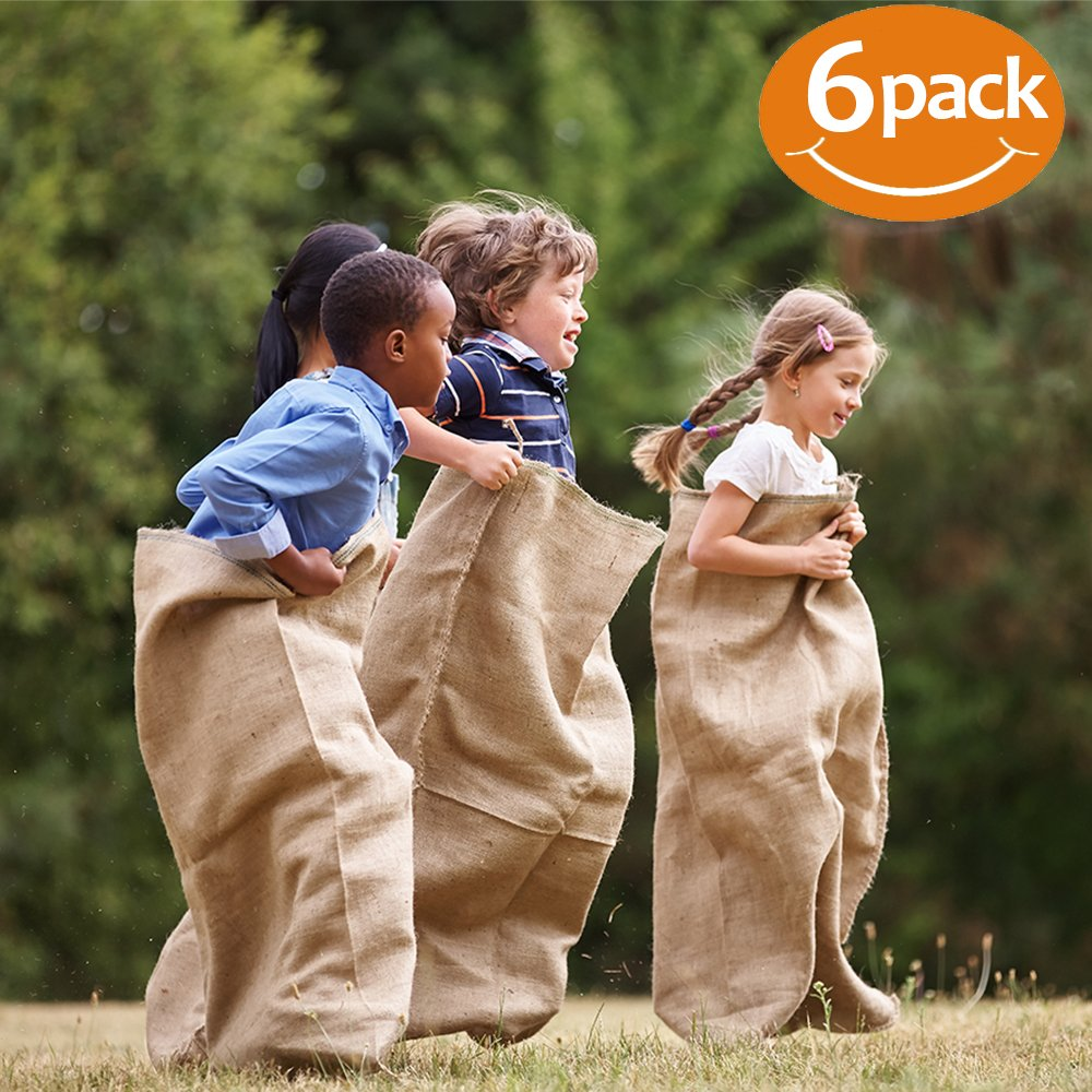 """Toys Opoly Premium Burlap Potato Sack Race Bags 24"""" X 40"""" (Pack Of 6)   Of Sturdy Rugged, 100 Percents Natural Eco Friendly Jute 