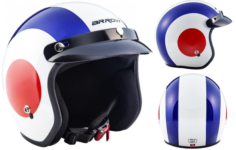 """57-58cm white /· Open Face Helmet /· Retro Motorbike Pilot Motorcycle Jet Scooter /· DOT certified /· Click-n-Secure/™ Clip /· Carrier Bag /· M Armor /· AV-47 /""""White/"""""""