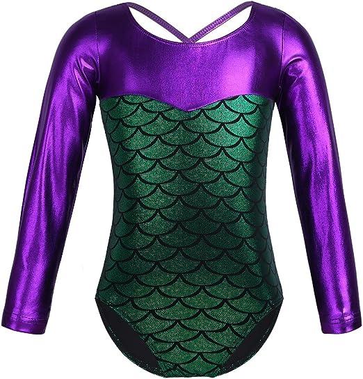 iiniim Girls Long Sleeve//Sleeveless Fish Scale Metallic Gymnastics Leotard Athletic Dance Outfit Swimming Costume