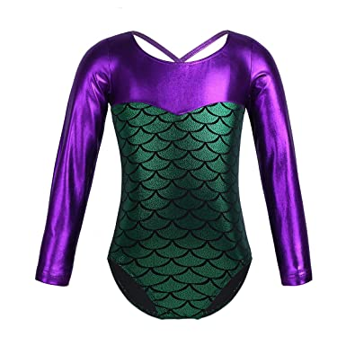 YiZYiF Enfant Fille Mermaid Justaucorps de Danse Ballet Gym Body Rayures  Sirène Leotard à Manches Longues 948b8df9902