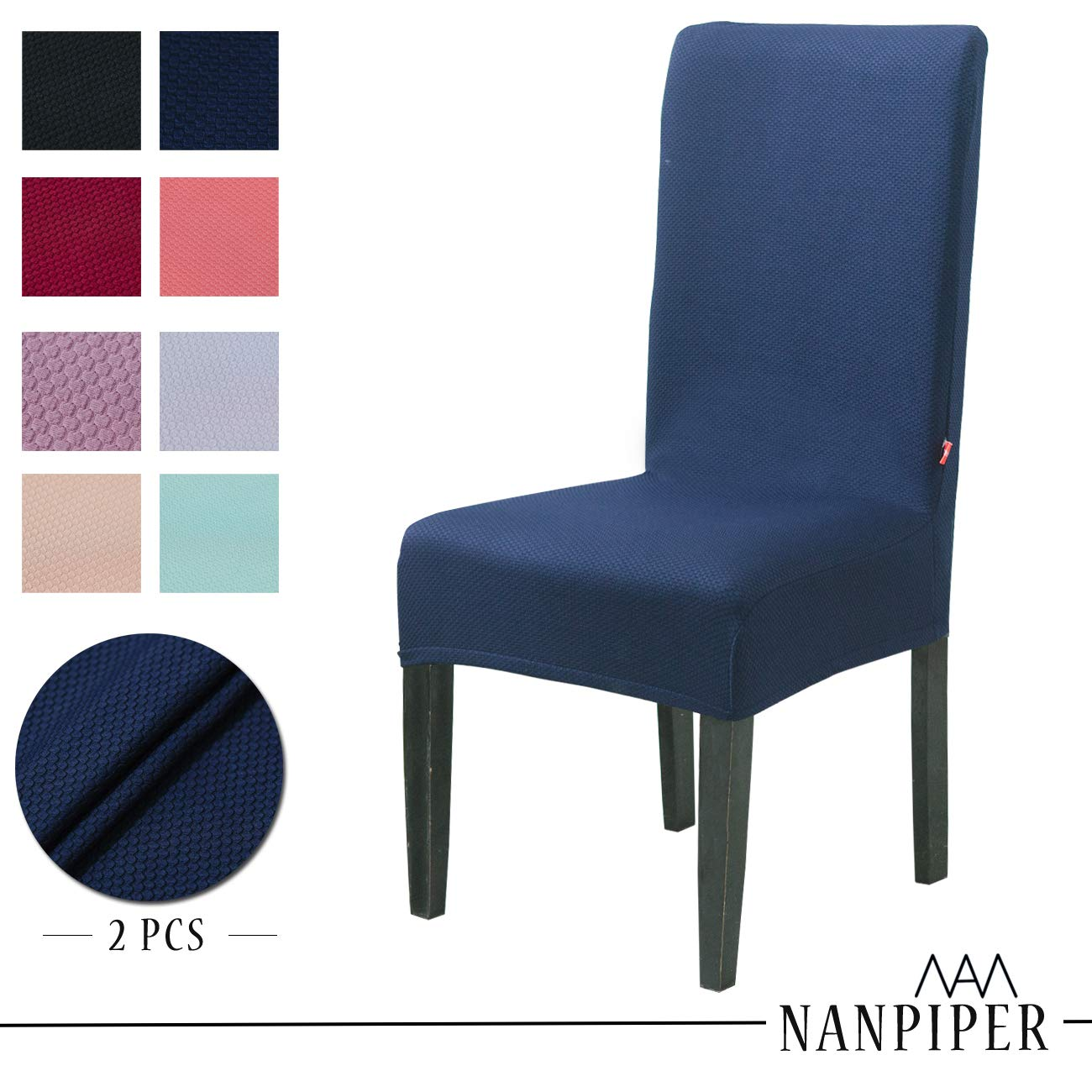 NANPIPER Dining Chair Slipcovers Washable Stretch Chair Covers for Dining Room Spandex Stretch Fabric Home Décor Set of 2 Navy Blue