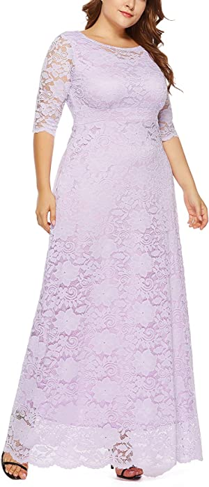 f47aa7d6e13 ... Eternatastic Womens Floral Lace 2 3 Sleeves Maxi Dress Plus Size  Evening Party Dress ...