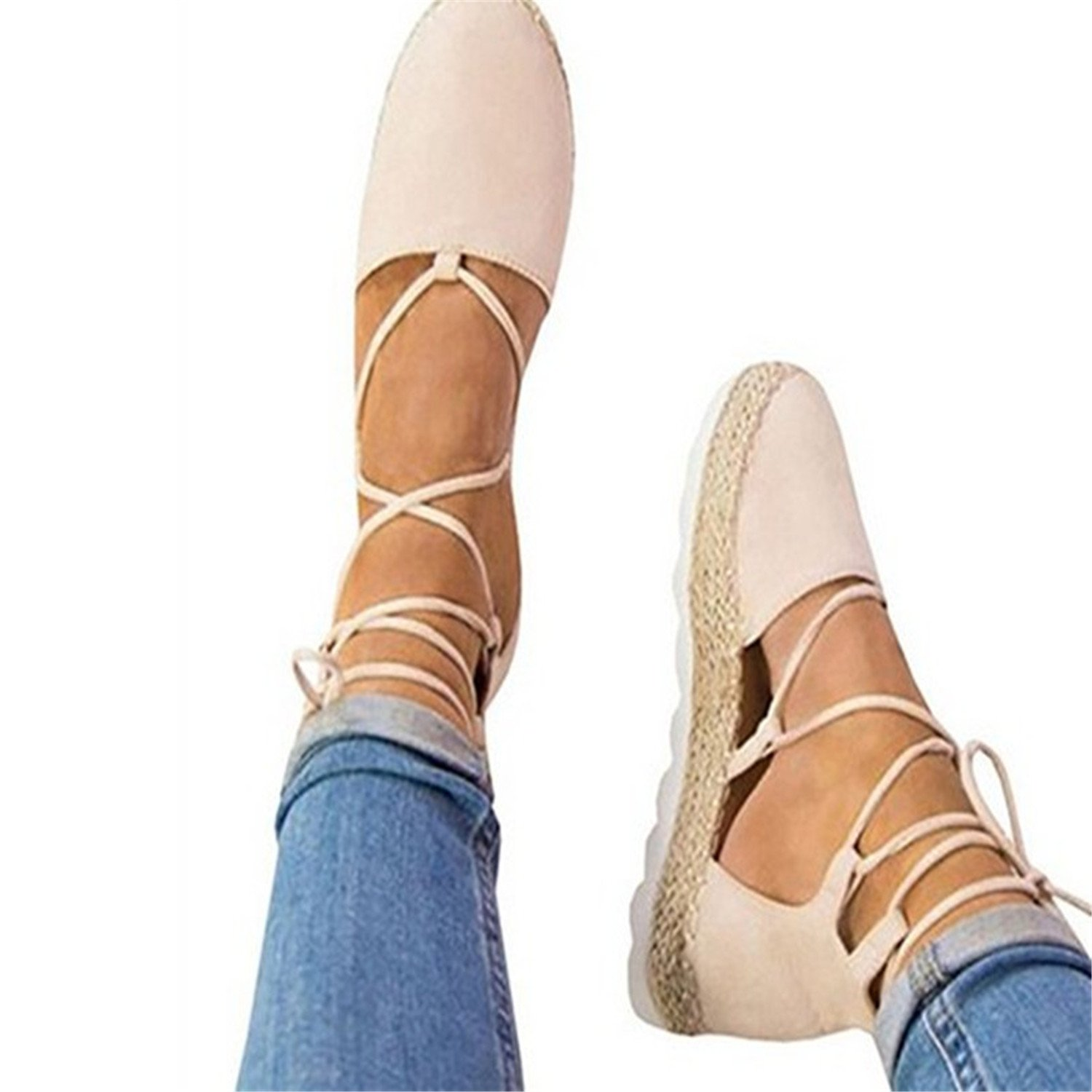 New Women Summer Cross-Tied Flat Sandals Flat Shoes Fashion Casual Cold Fish Mouth Shoes Bandage Hemp Sandals 35-44 B07CVB2PXG 10.5 B(M) US Pink