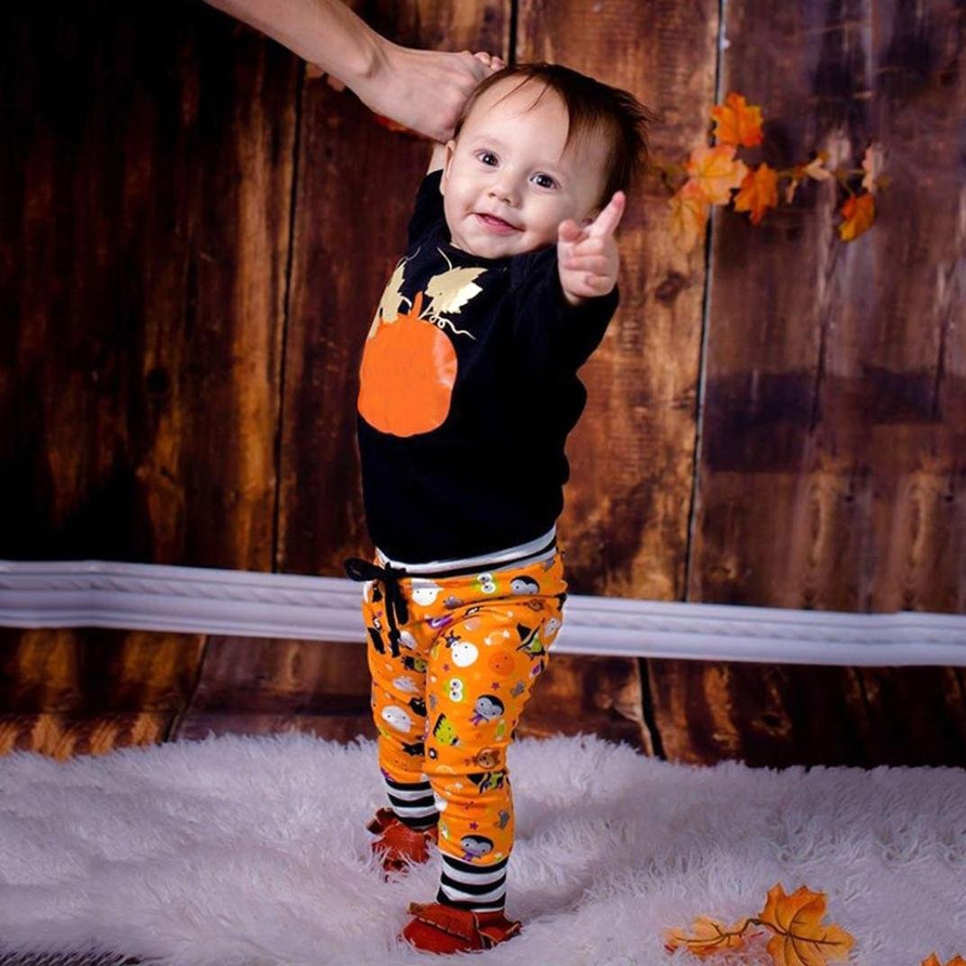 Toddler Baby Girls Boys Halloween Outfits Clothes Cute Pumpkin Print Long Sleeve Tops+Pants Sets 0-2T