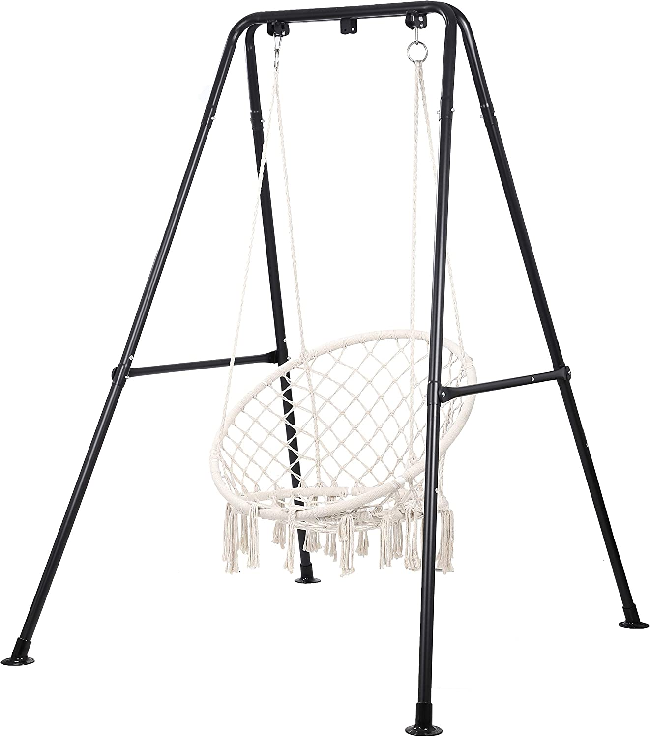 Taleco Gear Hammock Chair Stand, Heavy Duty Steel Hammock with Stand,Hanging Hammock for Outdoor and Indoor, Swing Chair for Adults with Two Ways, Portable Hanging Chair with Stand Black