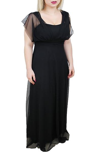 low priced 4c70b 8beaf Abito donna nero lungo 100% made in Italy vestito elegante ...