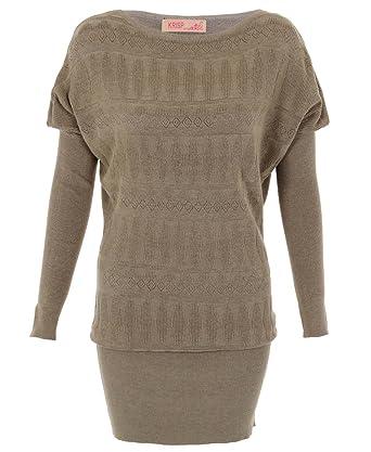 fe358dc41961ca KRISP 3802-MOC-ML: Plain Fine Knit Retro Pattern Front Batwing Long Jumper  Dress Tunic Top: Amazon.co.uk: Clothing