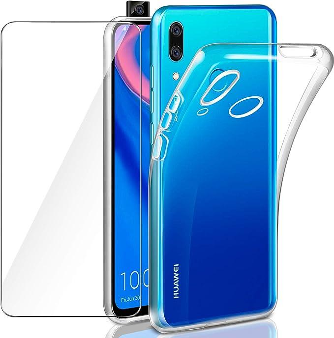Leathlux Funda Huawei P Smart Z + Protector de Pantalla Huawei P Smart Z, Suave Transparente Silicona Protectora TPU Gel Fina Carcasa para Huawei P Smart Z/Huawei Y9 Prime 2019: Amazon.es: Electrónica