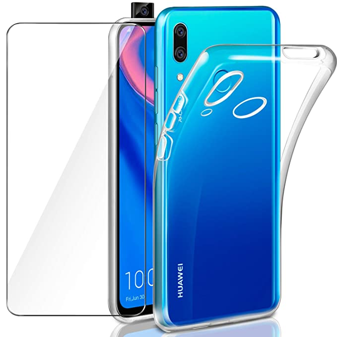 Leathlux Funda Huawei P Smart Z + Protector de Pantalla Huawei P Smart Z, Suave Transparente Silicona Protectora TPU Gel Fina Carcasa para Huawei P ...