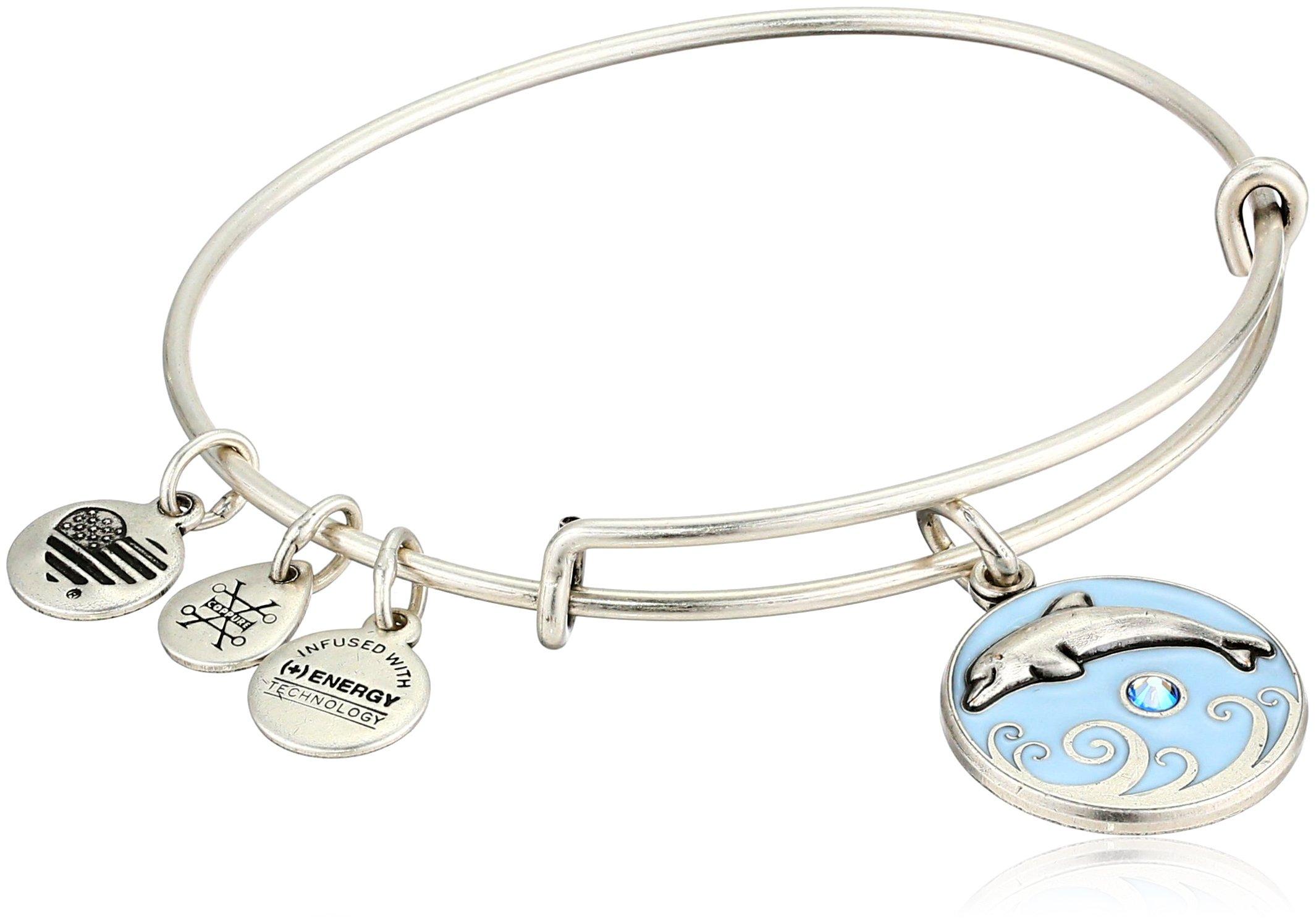 Alex and Ani Women's Color Infusion, Dolphin Charm Bangle Bracelet, Rafaelian Silver, Expandable