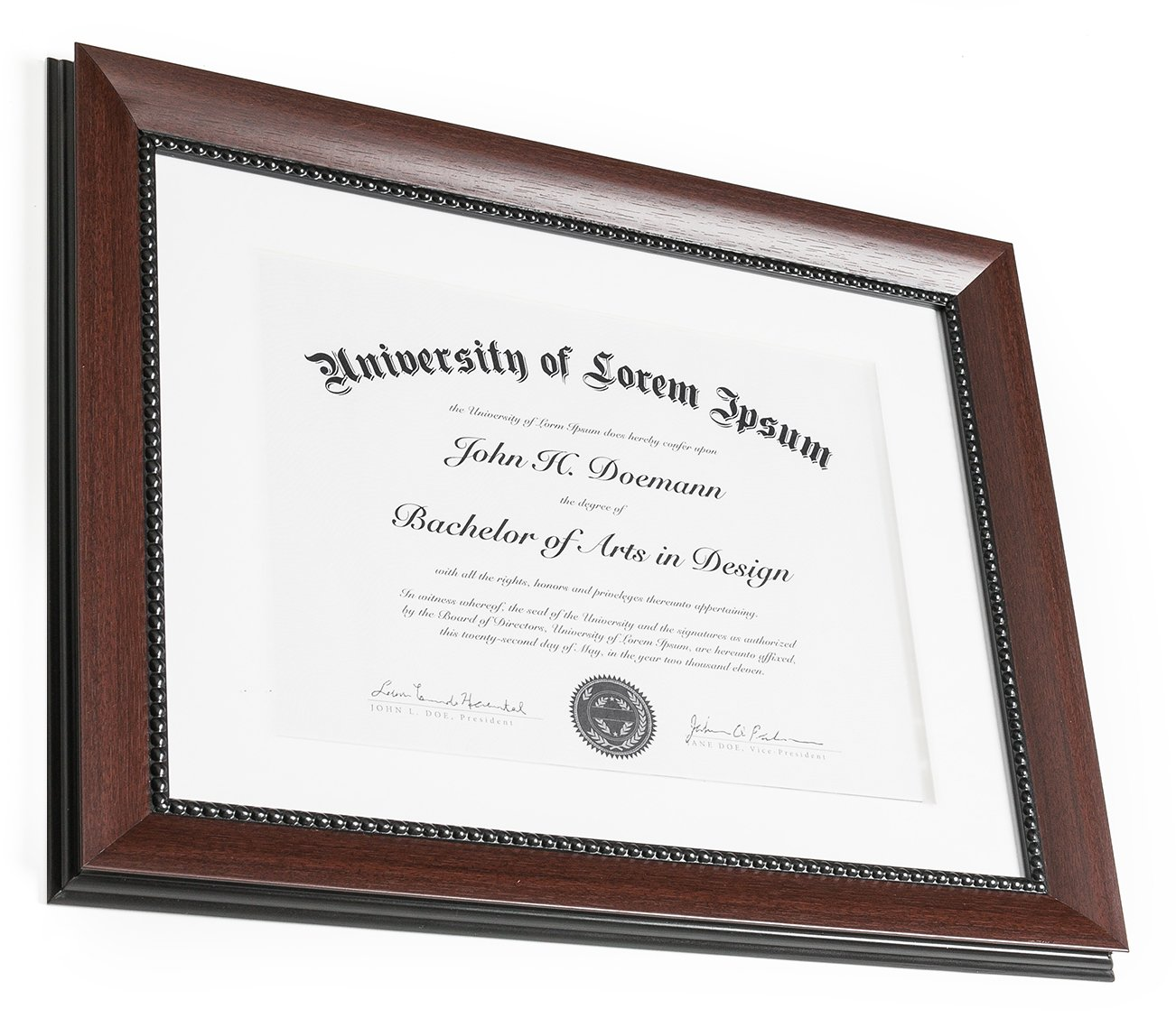 11x14 Mahogany Document Frame - Made to Display Certificates 8.5x11 ...