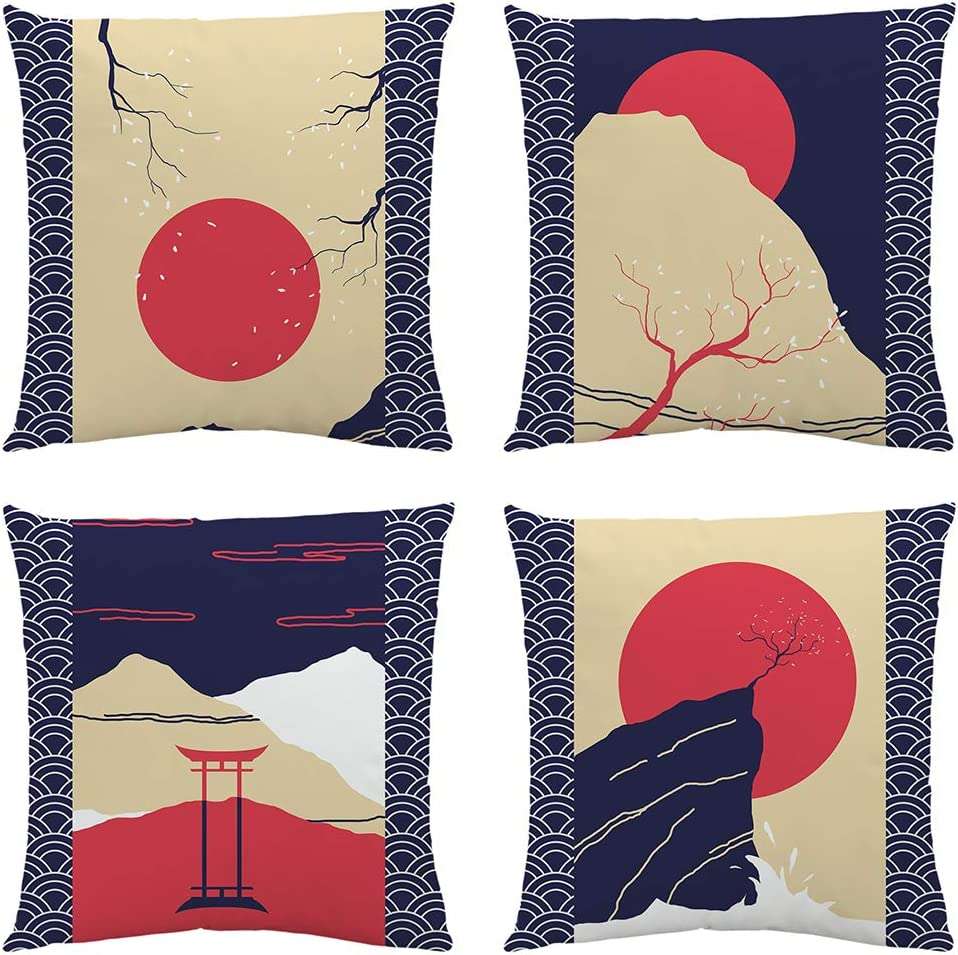 Sahvie's Treasures Japanese Room Decor – Pillow Covers 18x18 Set of 4 – Soft Throw Pillows for Couch –Throw Pillow Set for Japanese Decorations- Unique Blue and Red Decorative Pillow Covers