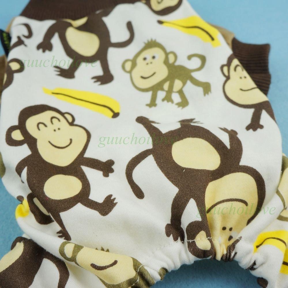FidgetFidget Soft Cotton Dog Pajamas Duck Pet Clothes Pet Jumpsuit Cat Shirt Monkey S Chest14 Back10 Cute Monkey