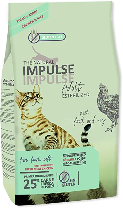 IMPULSE Pienso para Gatos Esterilizados Natural Cat Sterilized 8 Kg: Amazon.es: Productos para mascotas