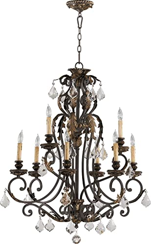 Quorum 6157-9-44 Crystal Accents Nine Light Chandelier from Rio Salado Collection in Bronze Dark Finish, Toasted Sienna