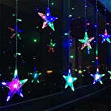 KISENG LED Flashing Star String Fairy Lights Wedding Curtain String Lights for Bedroom with 6 Free Plug Adapter (Multi Color)